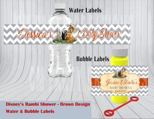 Bambi Baby Shower or Birthday Water & Bubble Labels