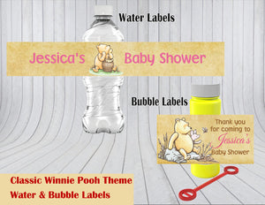 Classic Winnie Pooh Baby Shower or Birthday Water & Bubble Labels
