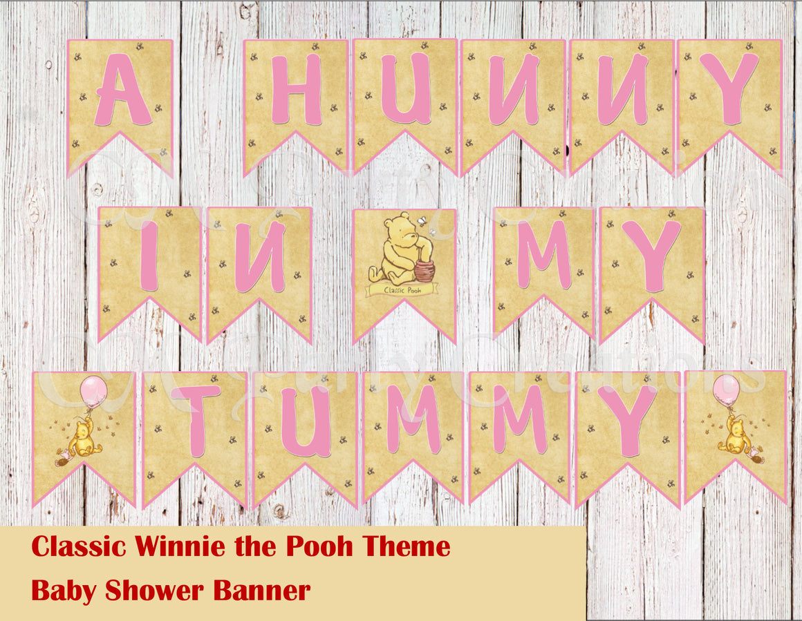 Classic Winnie the Pooh Theme Baby Shower or Birthday Banner