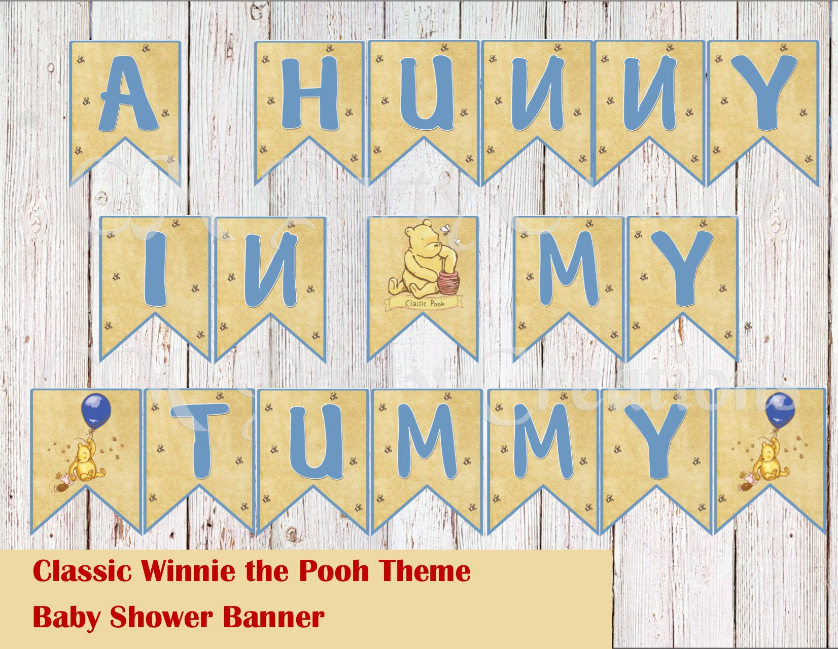 Winnie the Pooh Theme Party Personalized Banner Winnie the Pooh Birthday Banner Winnie the Pooh Baby Shower Banner Lavender