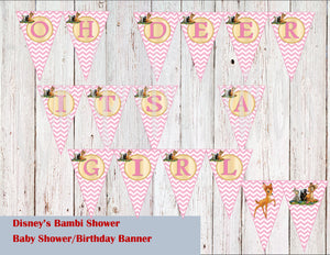 Bambi Baby Shower Banner, Oh Deer Its a Girl (or Boy)