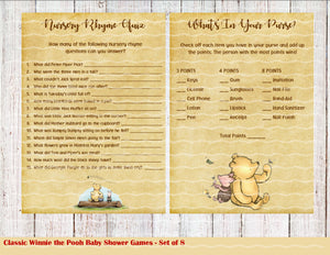 Classic Winnie the Pooh Baby Shower Games, 8 Games Download