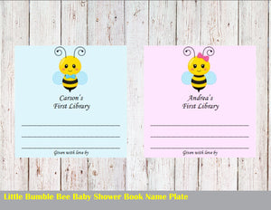 Book Name Plate Bumble Bee Baby Shower, Custom Name