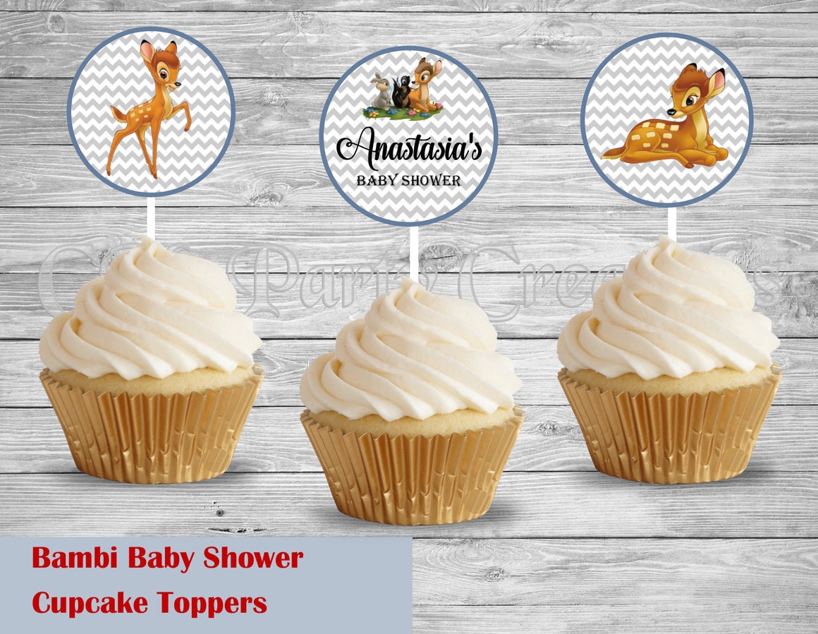 Bambi Baby Shower Birthday Cupcake Toppers Die Cuts