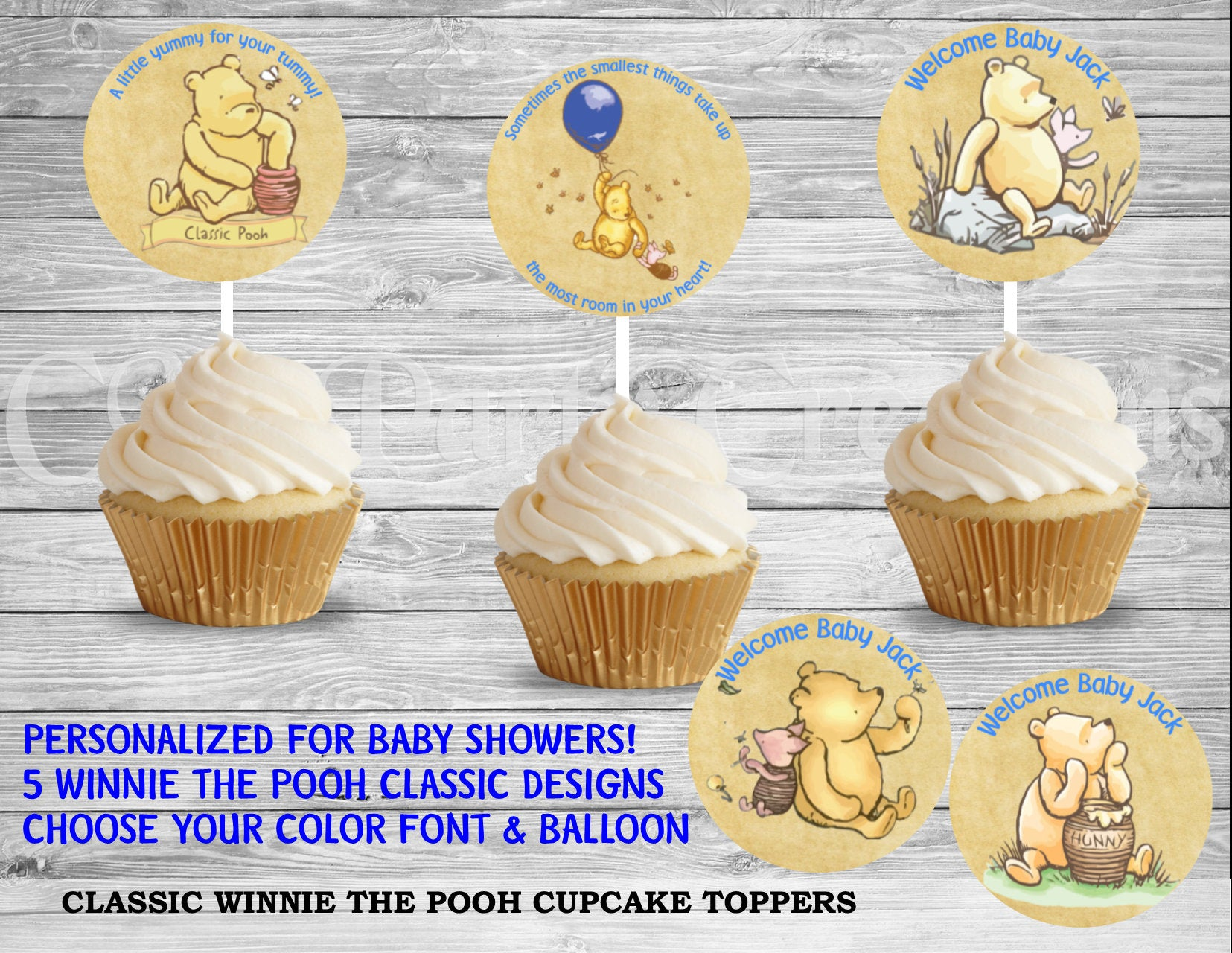 Ongekend Classic Winnie the Pooh Baby Shower Cupcake Toppers - CMPartycreations CQ-24