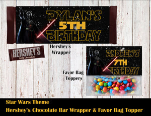 Star Wars Party Hershey's Wrapper and Favor Bag Toppers