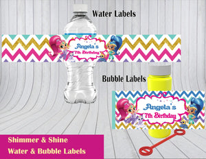 Shimmer and Shine Water & Bubble Labels, Birthday Party