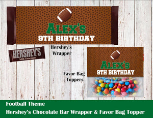 Football Party Theme Hershey's Wrapper and Favor Bag Toppers