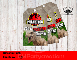Jurassic Park Thank You Tags