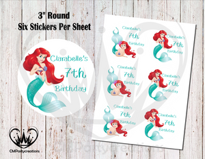"Ariel Little Mermaid 3"" Round Stickers"