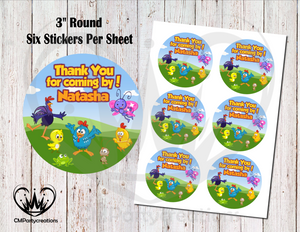 "Lottie Dottie Gallina Pintadita 3"" Round Thank You Stickers"