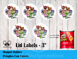 Muppet Babies Pringles Can and Lid Labels