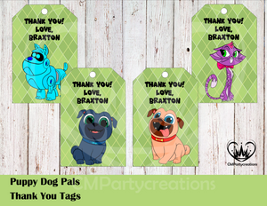Puppy Dog Pals Personalized Thank You Tags