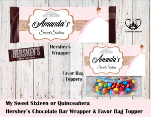Sweet 16 or Quincenera Hershey's Wrapper and Favor Bag Toppers