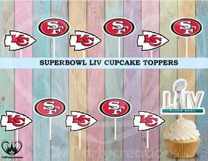 Super Bowl Chiefs 49ers NFL Logo Cupcake Toppers