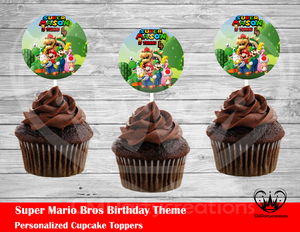 Super Mario Bros Round Cupcake Toppers