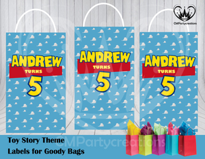 Toy Story Theme Gift Bag Labels