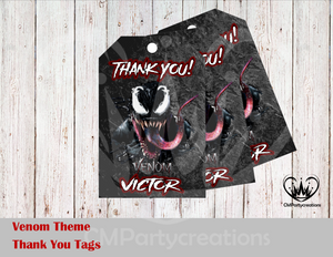 Venom Personalized Thank You Tags