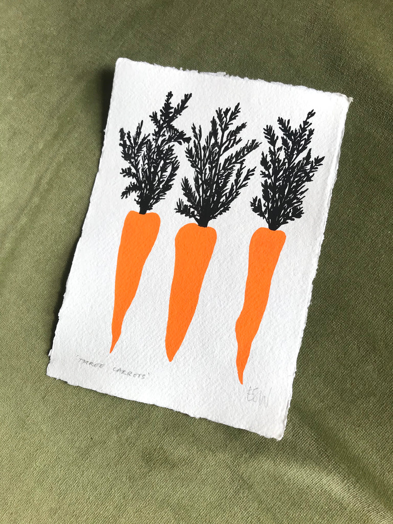 Three carrots gouache painting