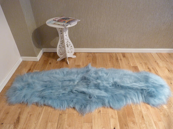 Icelandic Sheepskin Rug Double Aquamarine