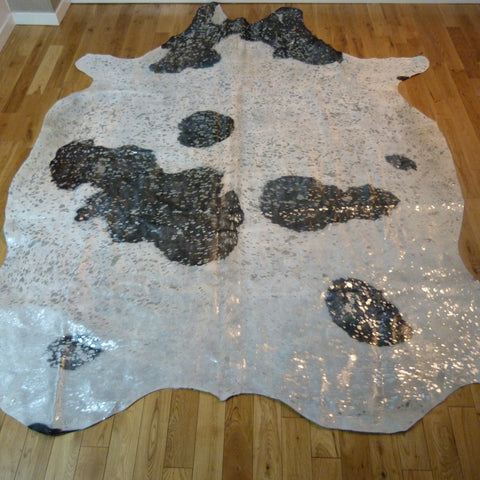 Black and White with Silver Metallic Cowhide Rug