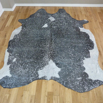 Luxury Black and White with Silver Metallic Cowhide Rug CM178