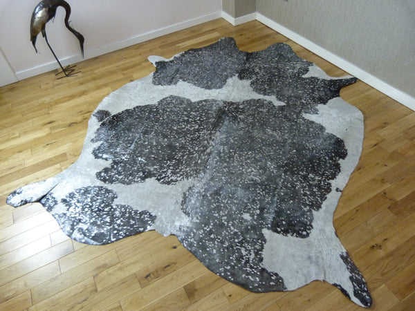 Luxury Black and White with Silver Metallic Cowhide Rug CM179