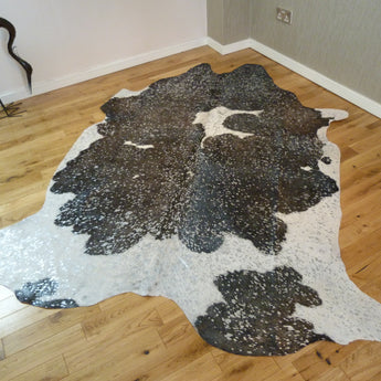Luxury Black and White with Silver Metallic Cowhide Rug CM180