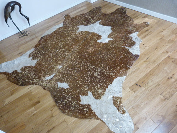 Gold Metallic Brown and White cowhide rug CM112