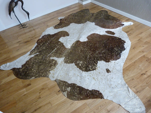 Gold Metallic Brown and White cowhide rug CM113