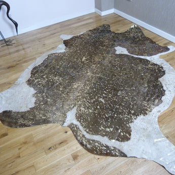 Gold Metallic Brown and White cowhide rug CM114