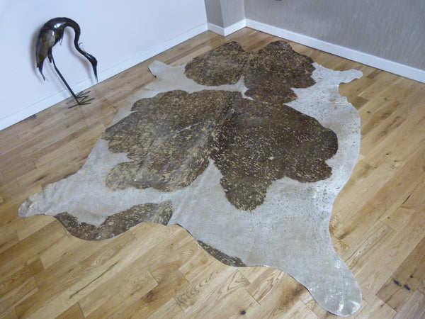 Brown and White with Gold Metallic Cowhide Rug