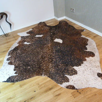 Brown and White Metallic Cowhide Rug CM150