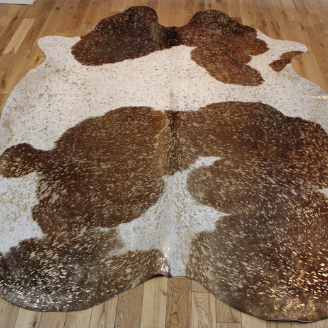 Brown and White - Gold Metallic Cowhide CM263