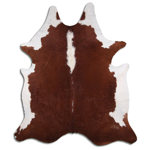 Cowhide Rug White and Brown C556