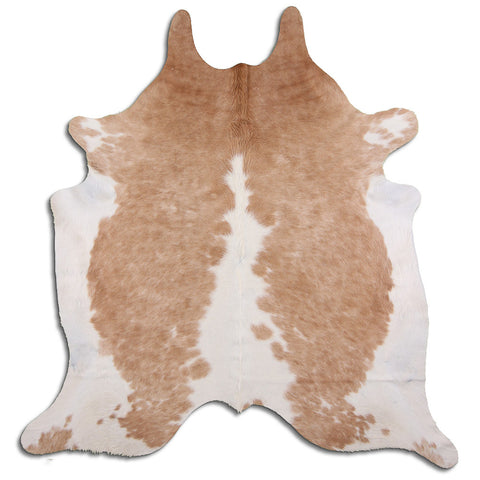 Cowhide Rug Beige and White C557