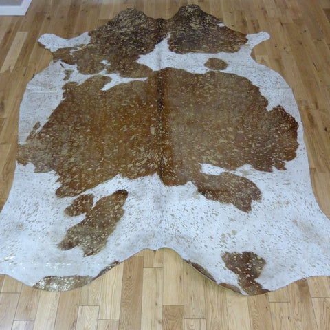 Brown and White - Gold Metallic Cowhide Rug CM169