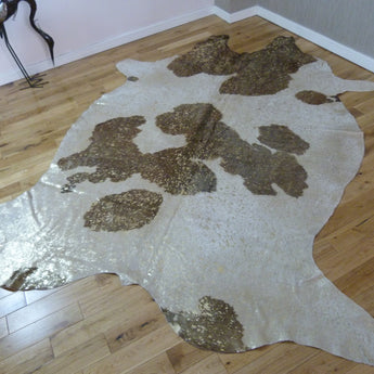 Brown and White - Gold Metallic Cowhide Rug CM171