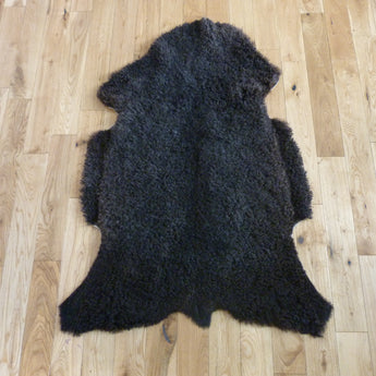 Black Curly Gotland Sheepskin Rug