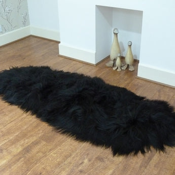 Icelandic Sheepskin Rug Double Black