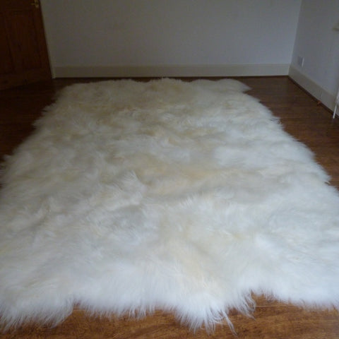 XL Natural Icelandic Sheepskin Rug Ivory White 12 Skin