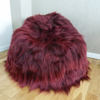 Icelandic Sheepskin Bean Bag Burgundy Red