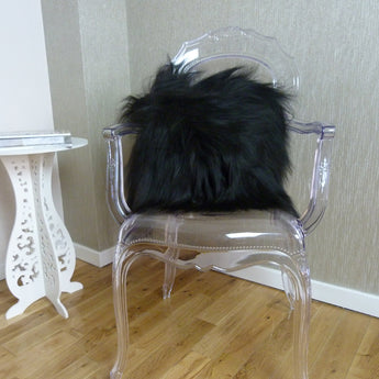 Icelandic Sheepskin Cushion Black