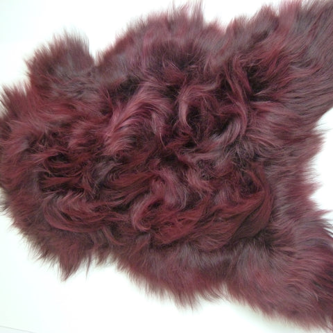 Icelandic Sheepskin Rug Burgundy Red