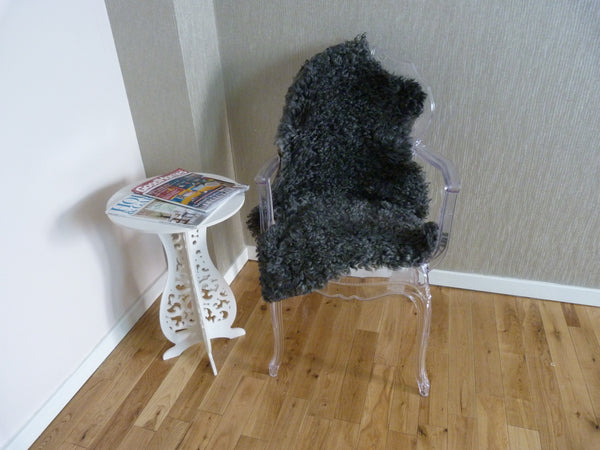 Natural Grey Curly Gotland Sheepskin Rug