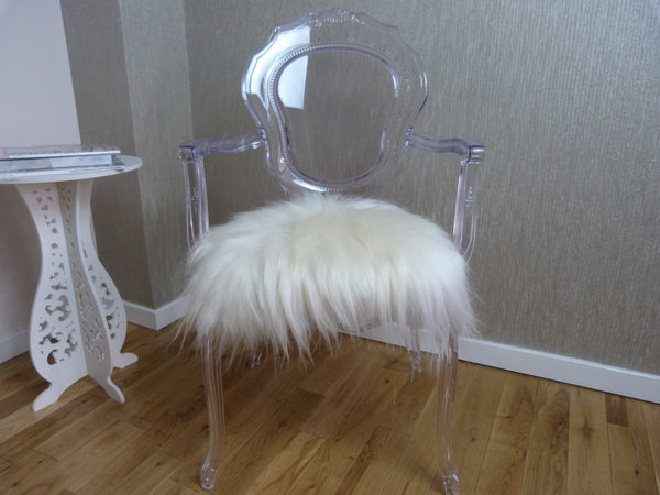 Ivory White Sheepskin Chair Pad