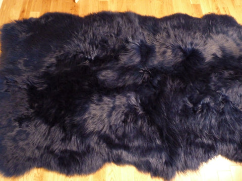 UK Sheepskin Rug Navy Blue 4 Skin