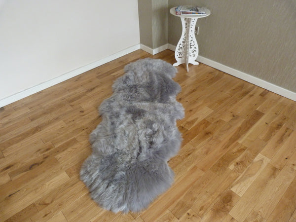 Steel Grey Runner Double Sheepskin Rug