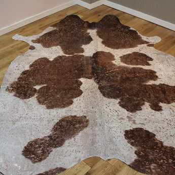 Brown and White Rose-Gold Metallic Cowhide Rug CM251