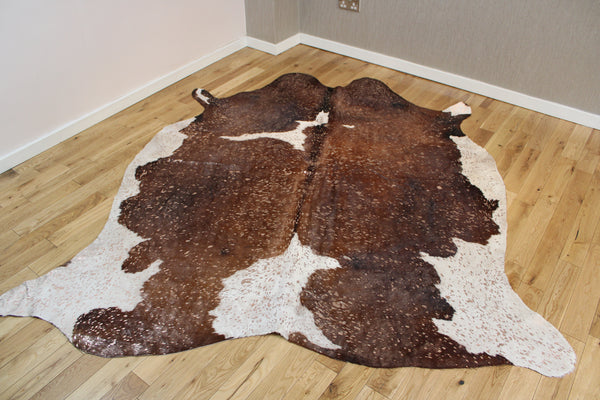 Rose-Gold Metallic Brown and White Cowhide Rug CM253
